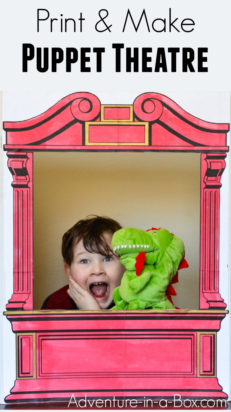 Print our puppet theatre pattern, then make a simple cardboard puppet theatre for your home or classroom! Kids will love colouring and customizing it before giving a performance with their favourite puppets. #diytoys #puppets #preschool #handmadetoys