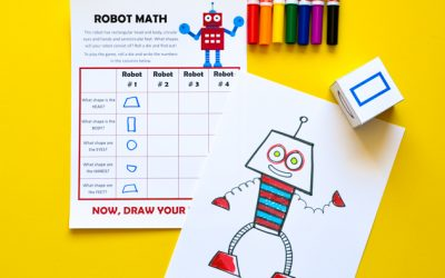 Robot Math: Printable Game of Art & Geometric Shapes for Kids