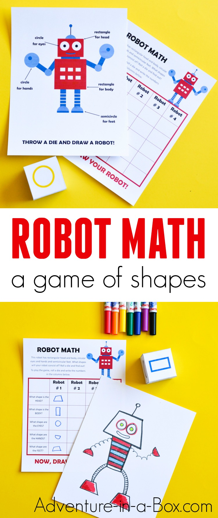 photo relating to Robot Printable named Robotic Math: Printable Sport of Artwork Geometric Styles for