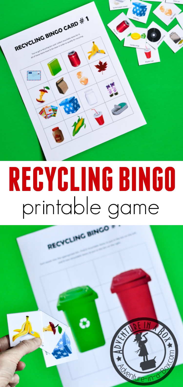Practice separating recyclable items from trash by following the bingo cards of this printable Recycling Bingo Game! A fun Earth Day activity for kids that will introduce them to the basic ideas of recycling. #homeschool #recycling #printablegame #earthday