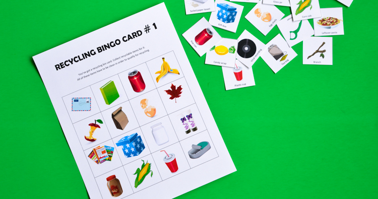 Recycling Bingo Printable Game for Kids