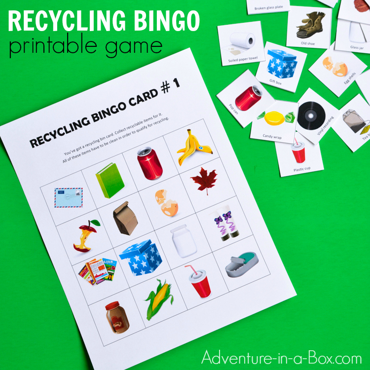 photo about Printable Bingo Cards for Kids titled Recycling Bingo Printable Match for Children Experience inside a Box