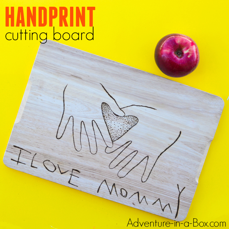 Use woodburning technique with kids to learn a new craft and make a cutting board that would be a perfect homemade gift for moms and grandmas. The keepsake cutting board captures both the child's handprints and handwriting!