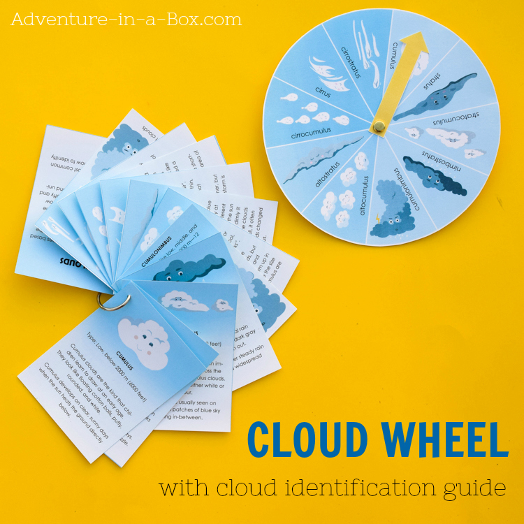 This cloud wheel with a cloud identification guide will help children to observe weather and learn to identify ten of the most common types of clouds. Make the science of weather observation a part of your daily routine with kids! #weatherstudy #printable #STEAM #STEM #stemprintable #teaching #homeschool