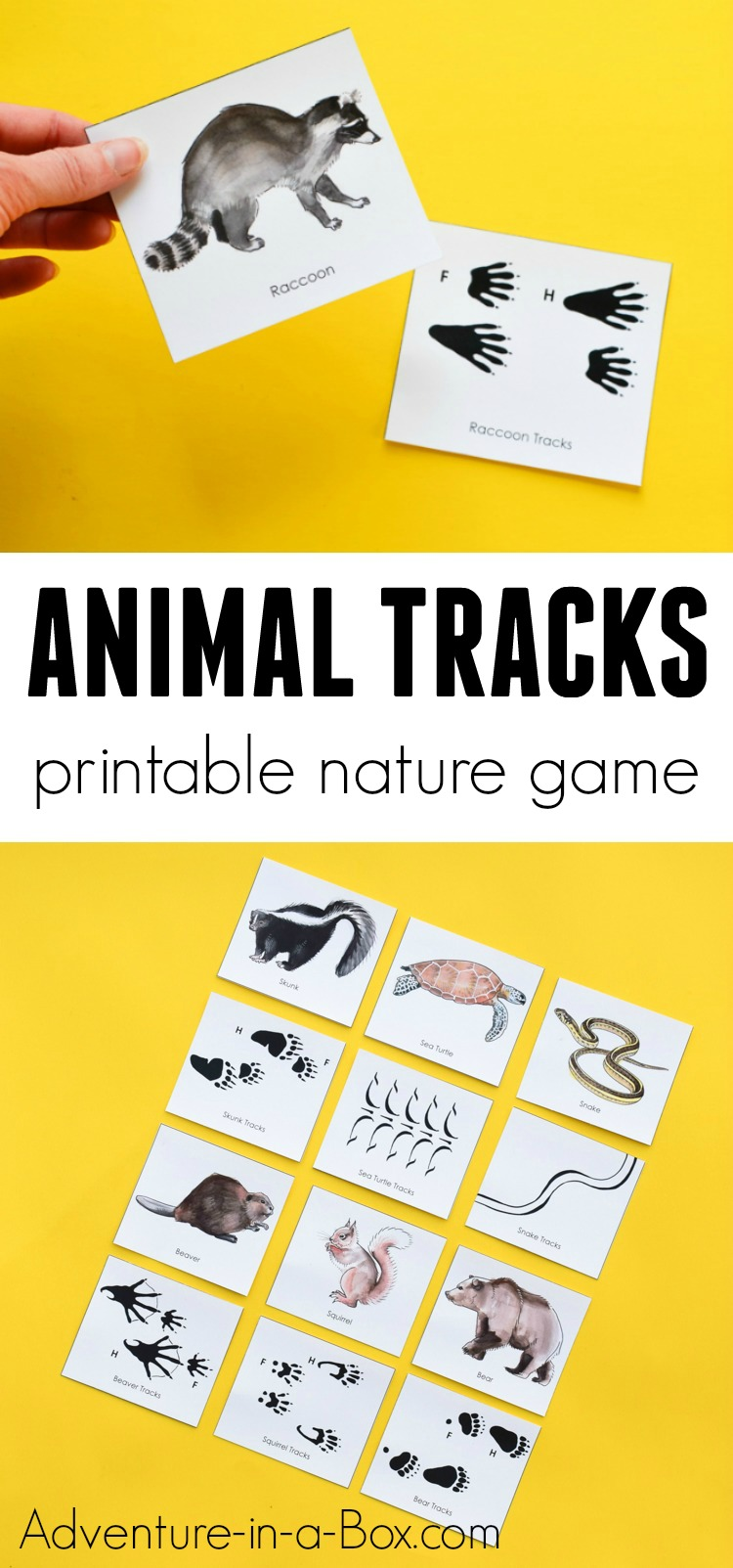 Kids will love to play and learn from this printable educational matching game, which teaches how to match animals with their tracks and where to find them! #nature #printable #homeschool #stem #education