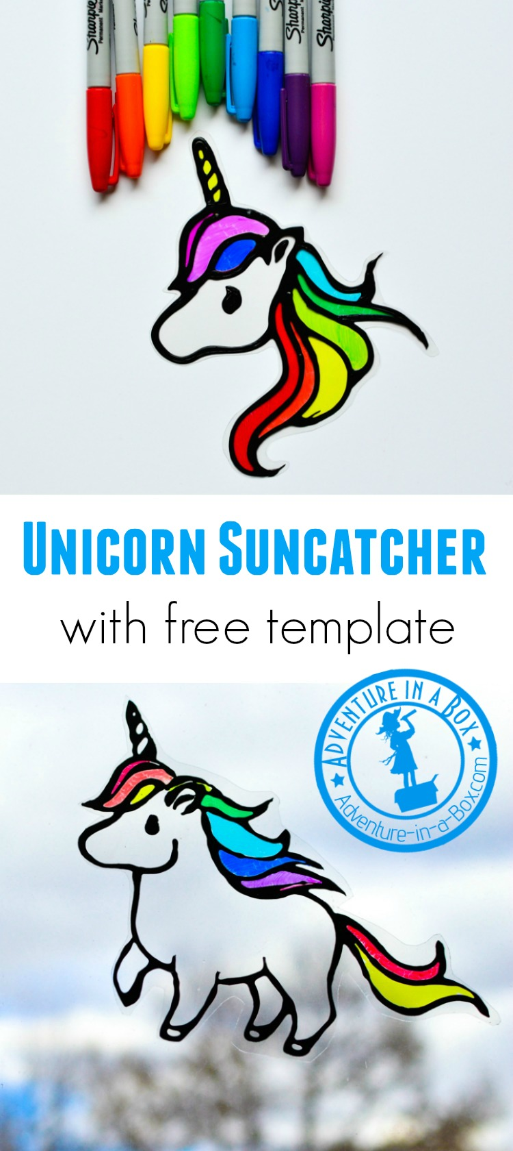 Make stained glass rainbow unicorn suncatchers with kids! This craft comes with two free printable templates and makes for a quick and easy way to decorate windows. #unicorn #kidscrafts #drawing #upcycling