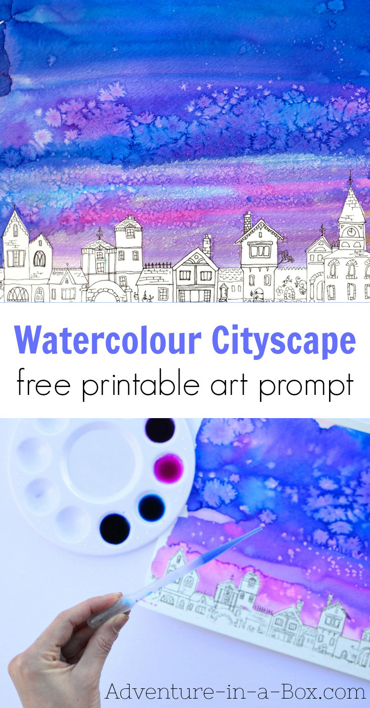 Would you like to try a simple watercolour project, that even kids can do? Paint a watercolour cityscape, using a free printable prompt! #kidsart #kidscrafts #watercolor #painting #freeprintable