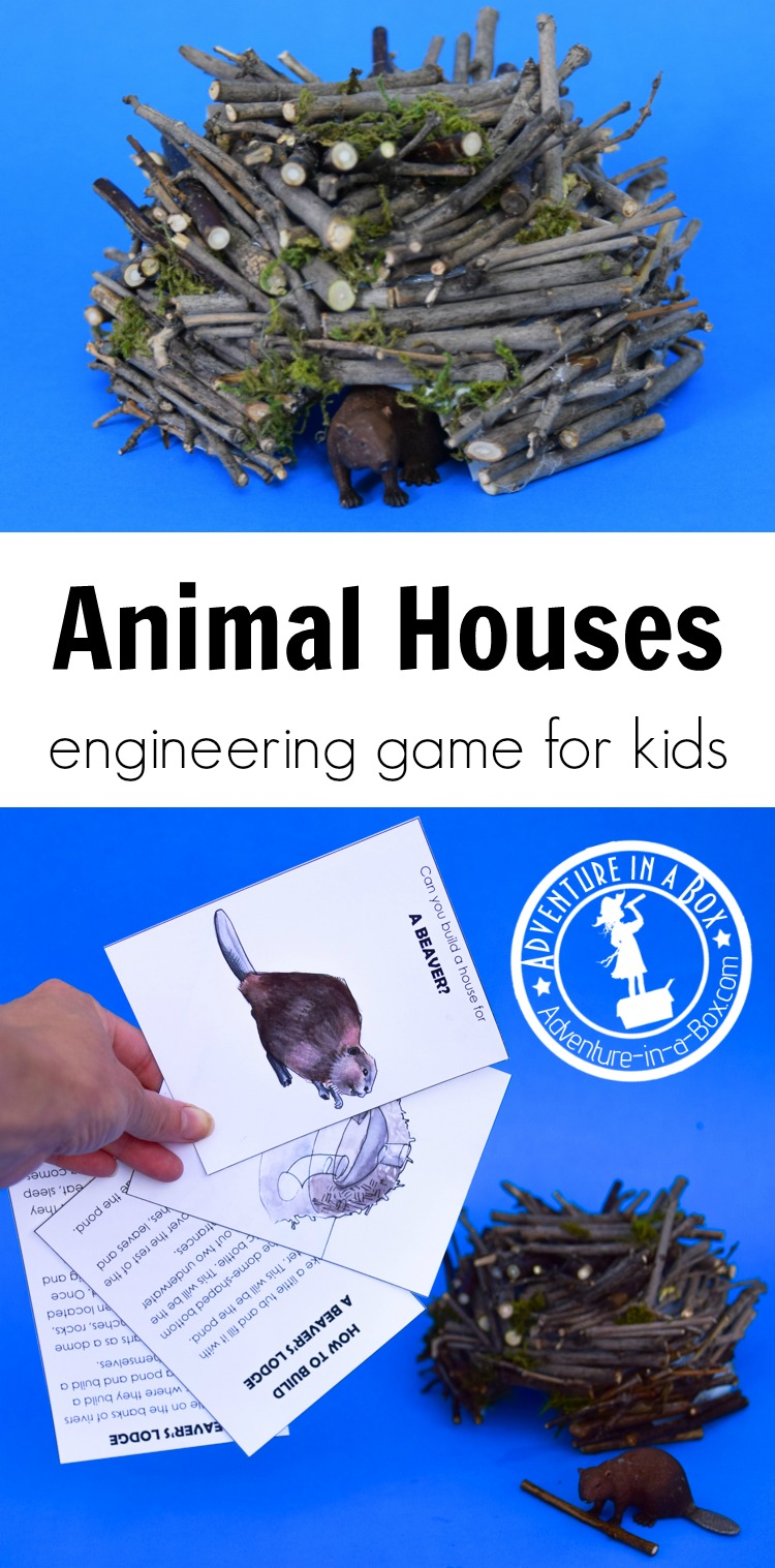 Using this nature-inspired engineering game for kids, you will learn about ten animals and the amazing houses they build, then complete the engineering challenges and build your own versions of these dwellings! #stem #stemactivities #printablegame #printable #homeschool #stemforkids #nature