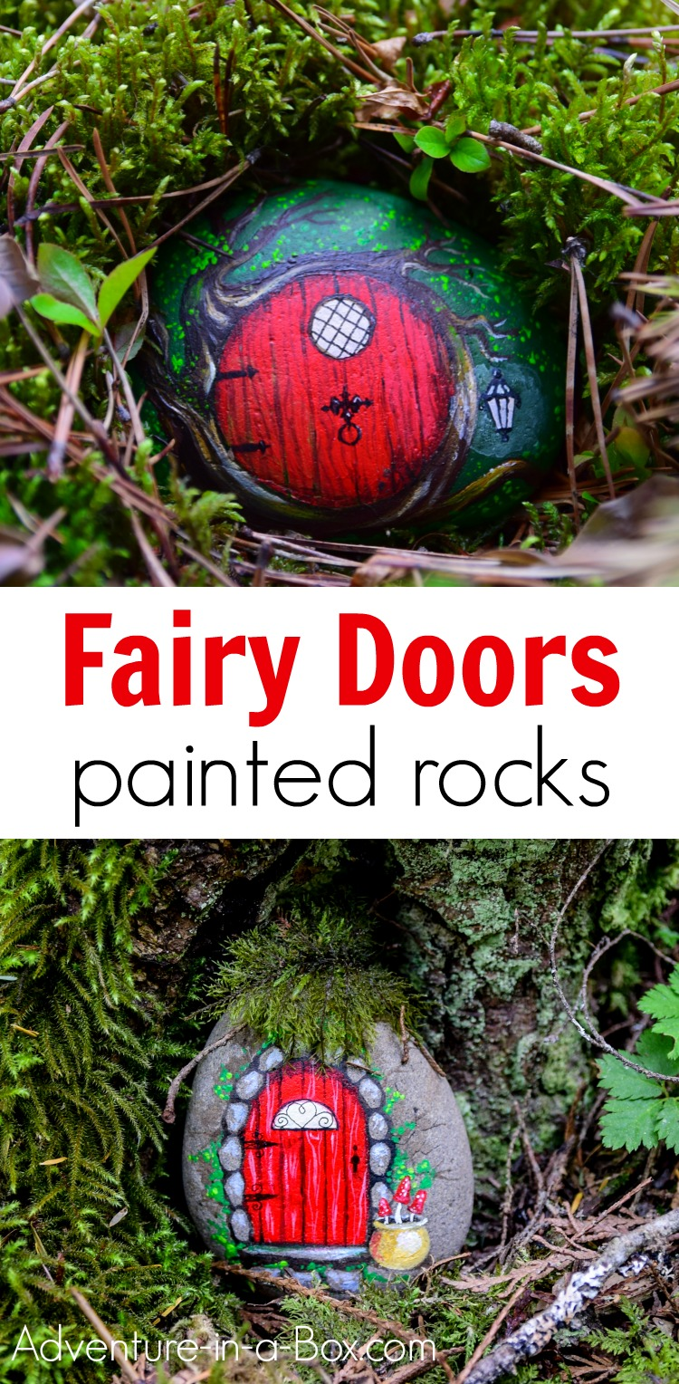 Learn how to make a fairy door from a painted rock! Hide the fairy rocks around or build a village of magical fairy houses in your backyard. #fairydoor #fairyhouse #rockpainting #kidscrafts