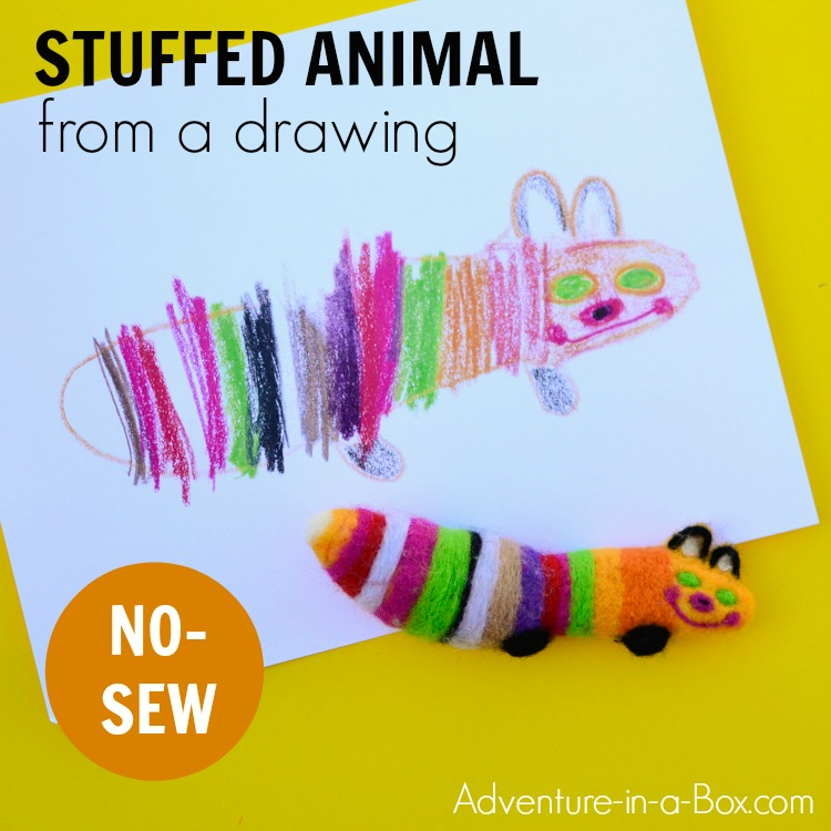 Make a stuffed animal from a drawing... without sewing! The simple needle felting project will allow you to create a special keepsake for your child. #nosew #needlefelting #diy #handmadetoy #giftidea