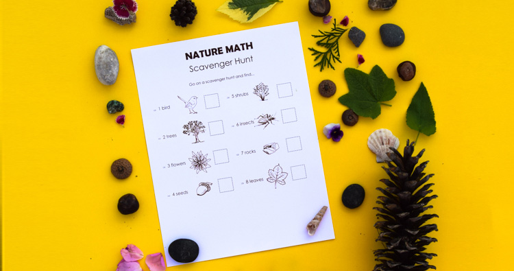 Math in Nature Scavenger Hunt for Kids