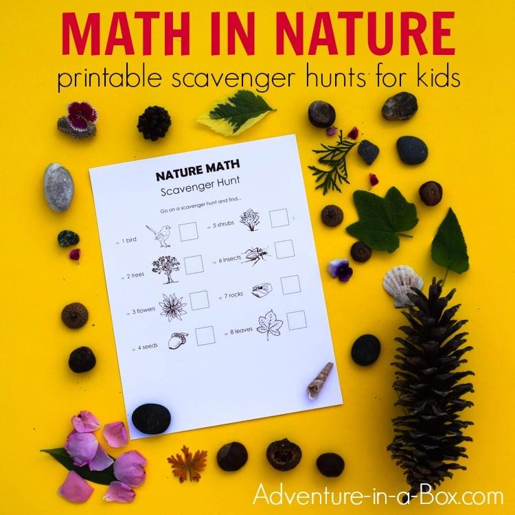 Nature Math Scavenger Hunt for Kids: 4 Printable Lists | Adventure ...