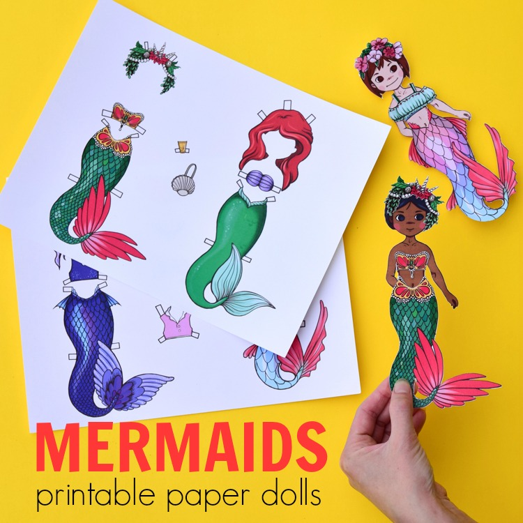 image relating to Paper Dolls to Printable named Mermaid Paper Dolls: Printable Template