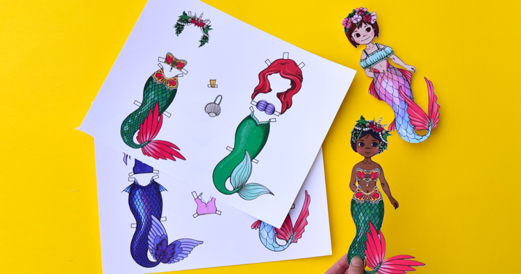 image regarding Printable Mermaid Pictures called Mermaid Paper Dolls with Printable Templates Experience inside of