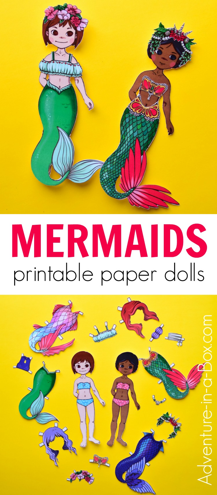 Mermaid Paper Dolls With Printable Templates Adventure In A Box