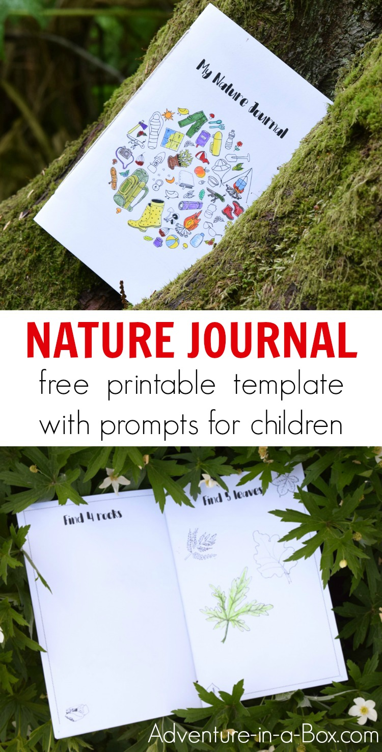 Learn how to start a nature journal with kids using a free printable template that offers ten creative prompts. It's a perfect nature STEM activity for kids as it encourages them to go outside, explore nature scientifically, then record their nature finds artistically! #nature #kidsactivities #stem #steam #printable