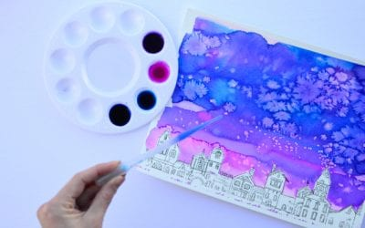 Watercolour Cityscape: Easy Painting for Kids with a Printable Prompt