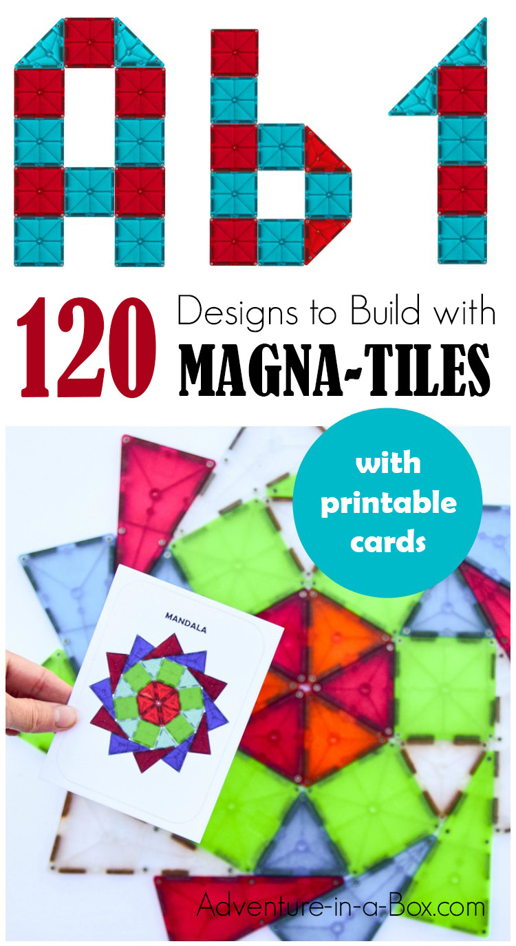 Looking for Magna Tile ideas for kids to build? Choose one of 120 printable Magna Tile designs and build away! There are letters, numbers, geometric shapes and 2D art designs. #preschool #alphabet #magnatiles #homeschool #stemactivities