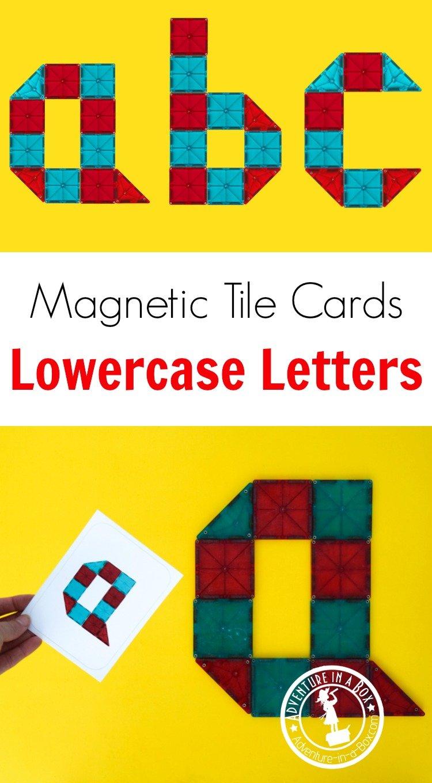 Magnetic Tiles Idea Cards Lowercase Letters Alphabet