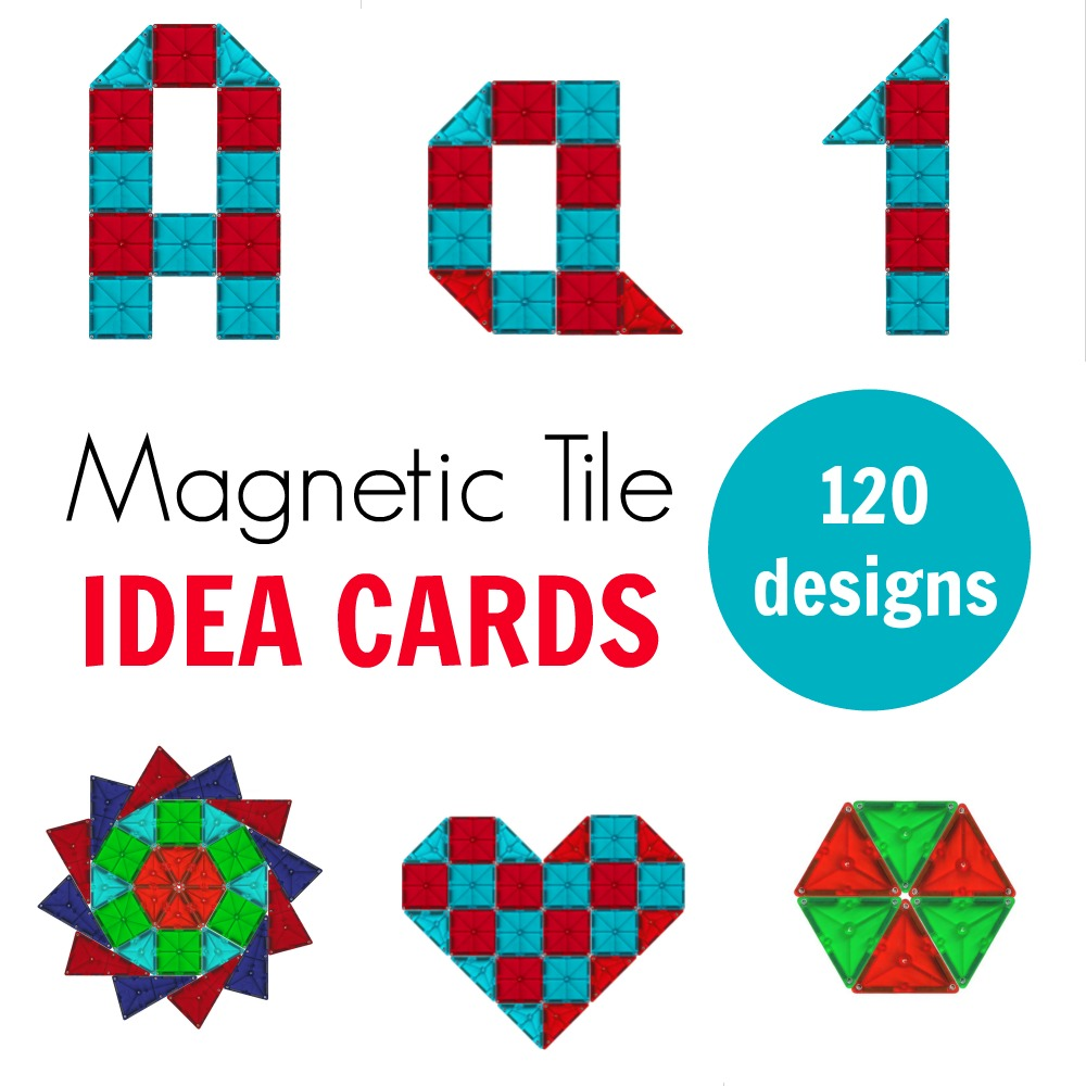 Looking for Magna Tile ideas for kids to build? Choose one of 120 printable Magna Tile designs and build away! There are letters, numbers, geometric shapes and 2D art designs. #preschool #kindergarten #magnatiles #homeschool #stemactivities