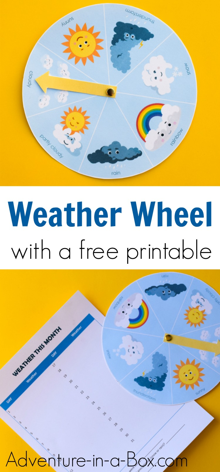 For preschools and kindergartens, supplement a weather study unit with this cute and free printable weather wheel for kids! #kindergarten #preschool #weatherstudy #homeschool #printable