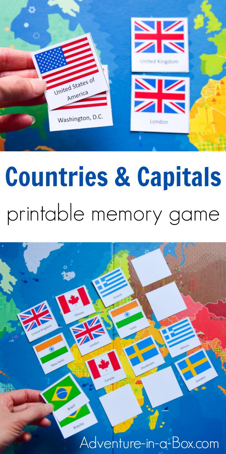 Countries & Capitals is a printable memory matching game designed to help children and adults with learning the countries of the world, their capitals and flags.  #geography #printablegame #teachers #teaching #homeschool
