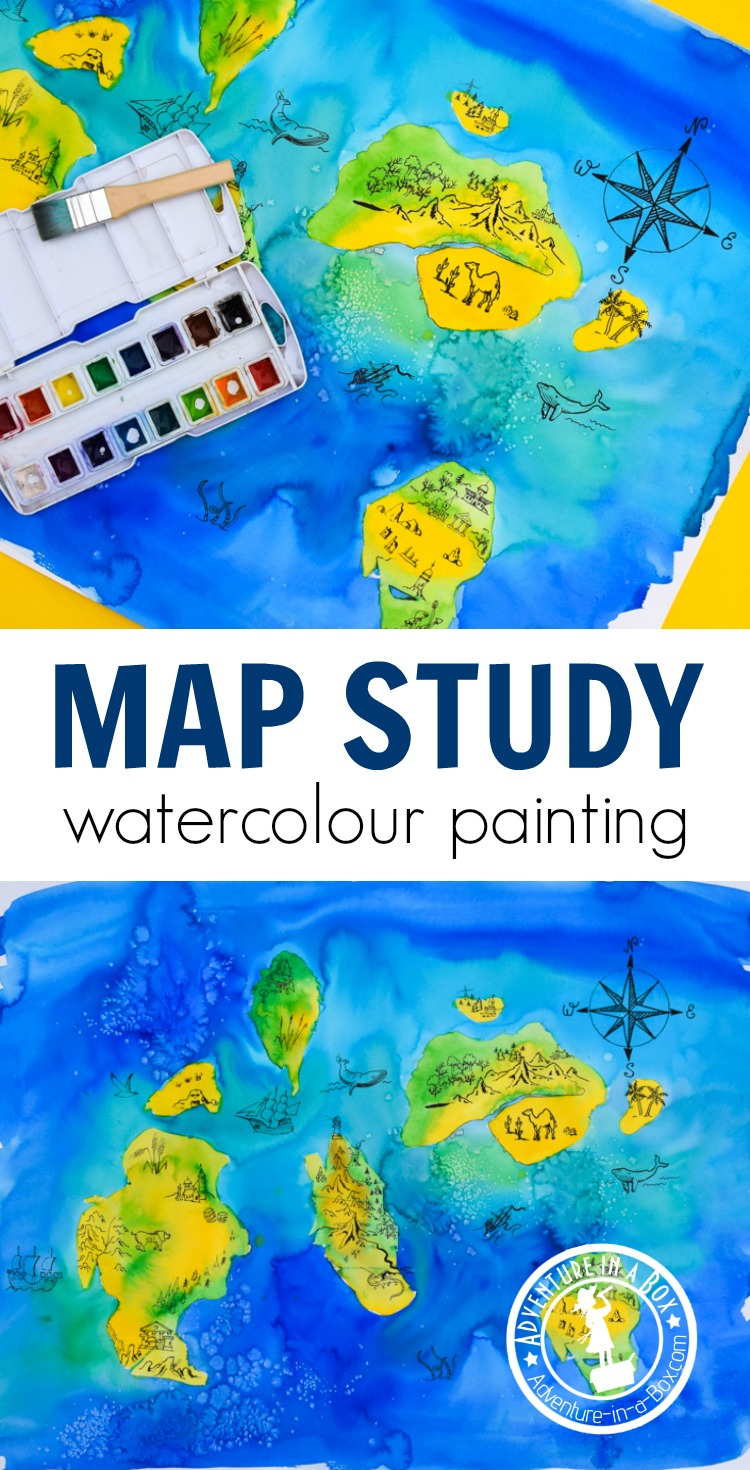 Map Unit Study: When learning about maps with kids, make your own map, using a simple watercolour painting technique! #homeschool #grade1 #kidspainting #artsandcrafts #teaching