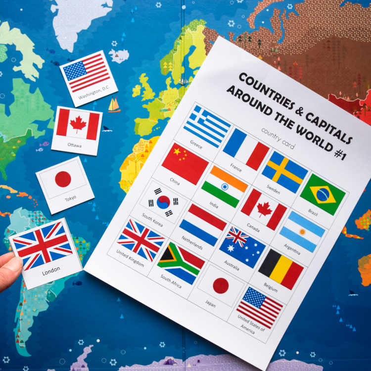 photo about Printable Country Flags called International locations Capitals of the Global: Printable Geography Activity