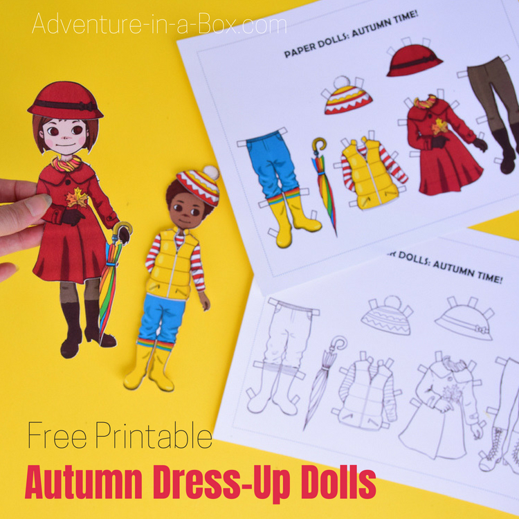 picture relating to Paper Doll Clothes Printable identified as Free of charge Printable Autumn Costume-Up Paper Doll Experience inside of a Box