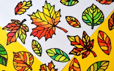 Stained Glass Leaf Suncatcher with Free Printable Templates