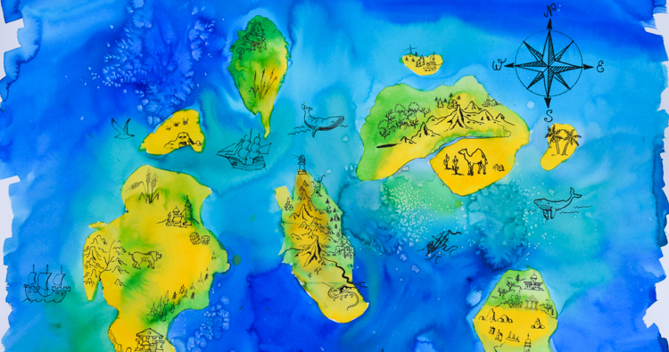 Map Study Watercolour Painting with Children