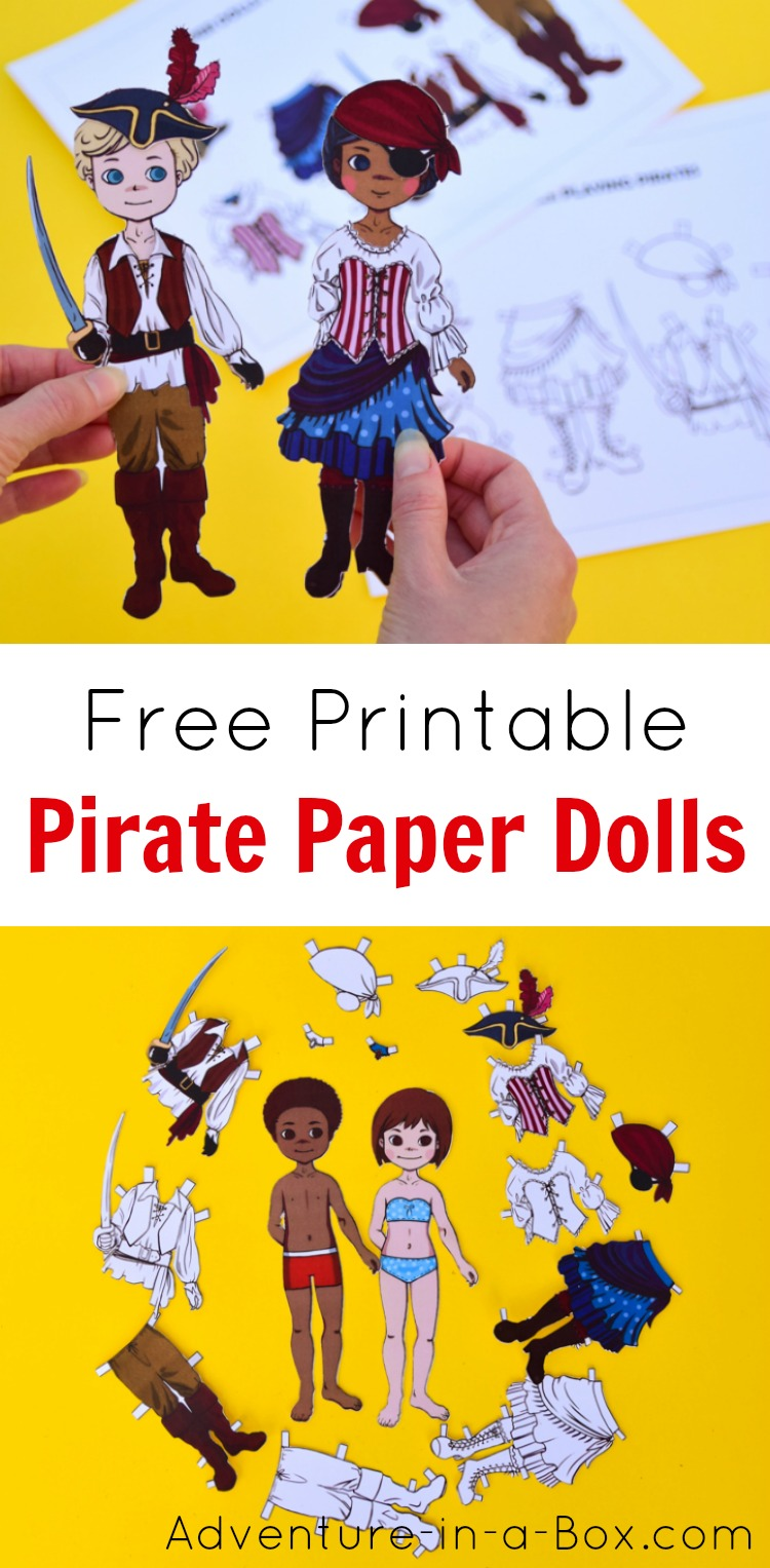 Dress up these free printable paper dolls as pirates! A great pirate party favour idea for kids. #pirates #kidscrafts #freeprintable #papercrafts