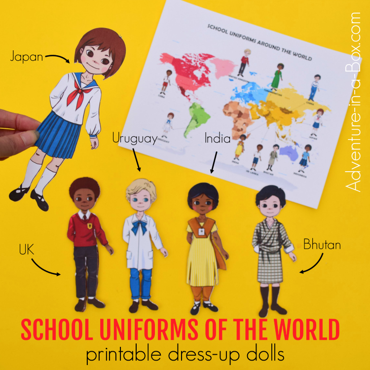 Explore cultural diversity with kids by getting our printable paper dolls ready for school and dressing them up in a variety of school uniforms around the world! #papercrafts #homeschool #homeschooling #artsandcrafts #kidscrafts #teach #backtoschool