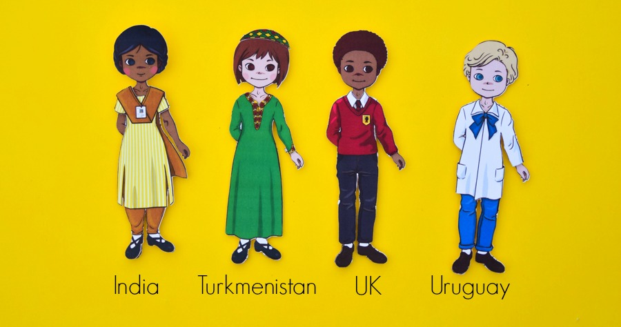 School Uniforms Around the World: Printable Dress-Up Paper Dolls