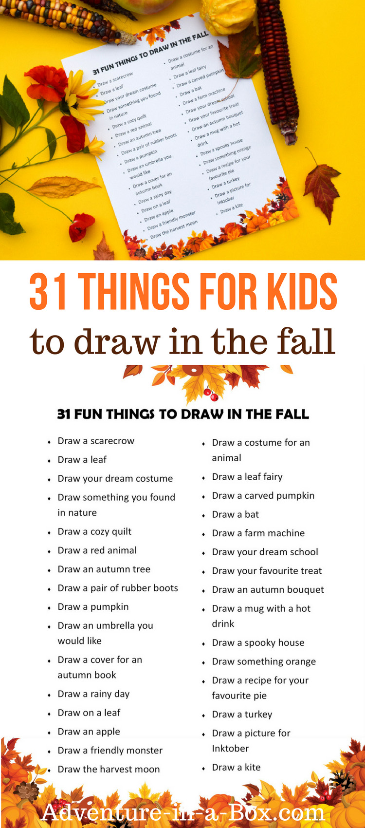 Are your kids wondering what to draw? Get this list of drawing challenges and fun things for kids to draw in the fall! #drawingaday #drawiingchallenge #drawing #kidsart #artteacher #homeschool