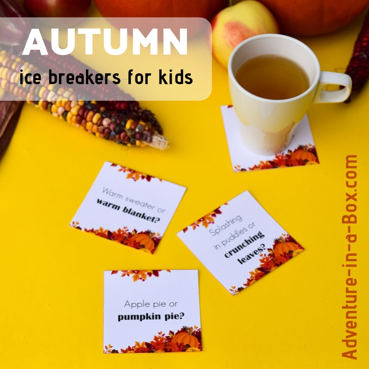 Do you want a lively conversation going at the family table? Try ice breaker questions for kids. They are made in the form of printable coasters, especially for autumn gatherings! #autumn #printable #parenting #children #familynight
