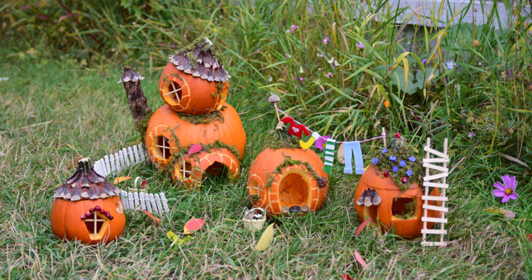 Pumpkin Fairy Garden for Halloween Display
