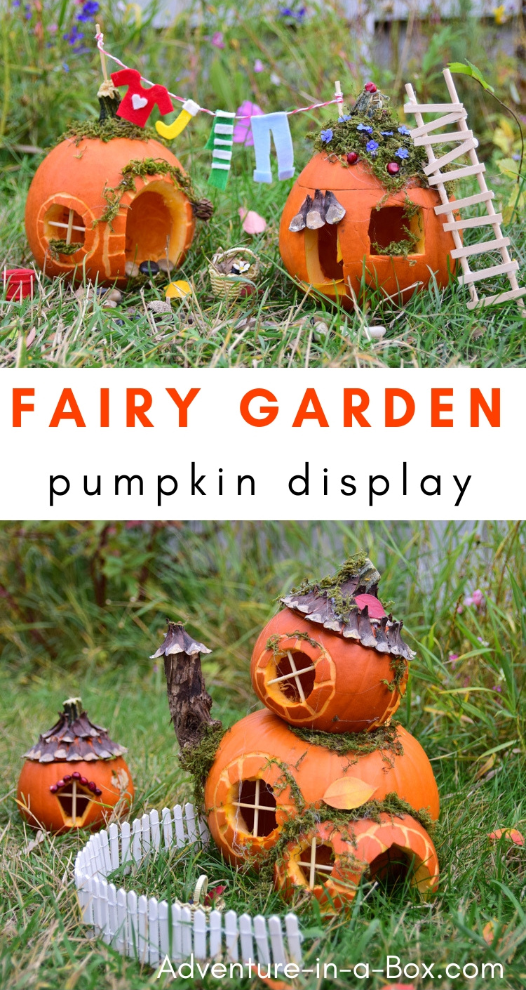 Build fairy houses from pumpkins and put together a pumpkin fairy garden for Halloween display this year! #fairyhouse #diy #halloween #pumpkindisplay #fairygarden #autumn