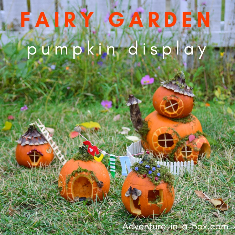 Build fairy houses from pumpkins and put together a pumpkin fairy garden for Halloween display this year! #halloween #fairygarden #fairyhouse #pumpkindisplay #crafts #halloweencraft
