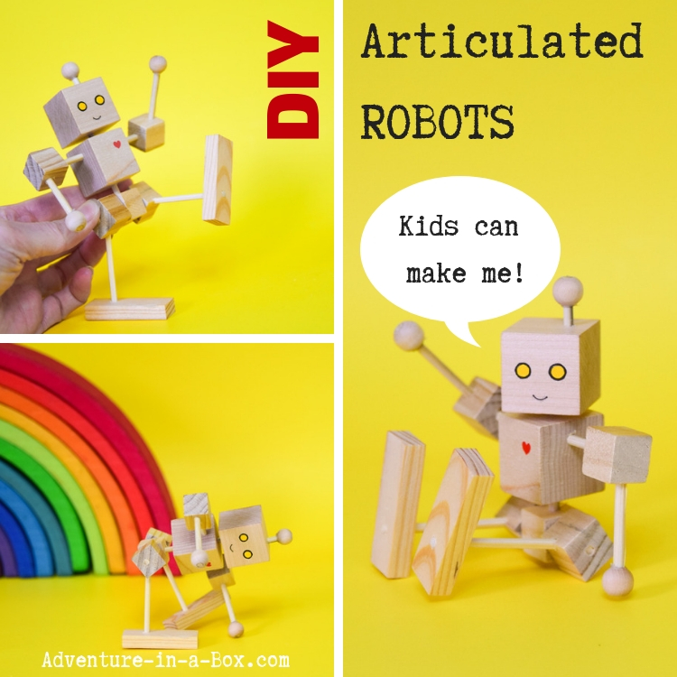 Build a simple articulated wooden robot! It is a great engineering project to teach kids how articulation works and a perfect woodworking project for beginners. #stemactivities #stemeducation #robots #kidscrafts #woodworking