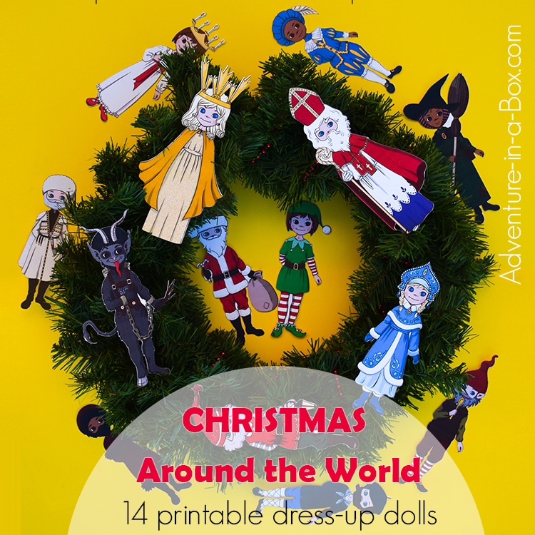 christmas around the world dress up magnetic paper dolls