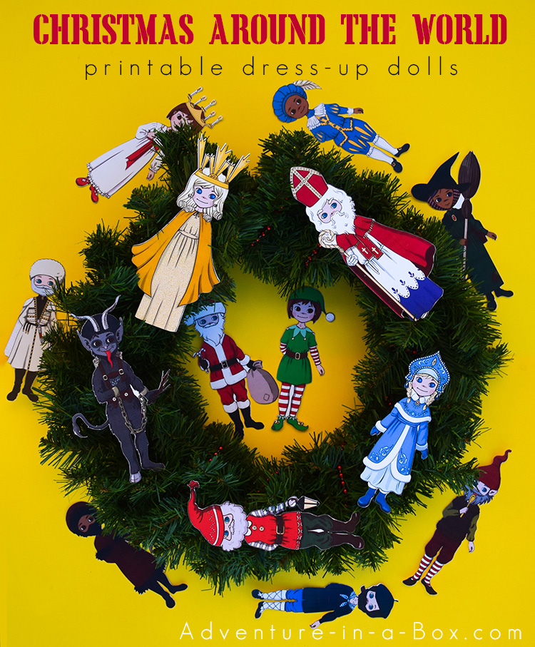 Introduce kids to Christmas traditions around the world with printable dress-up dolls of fourteen gift-bringing characters from different cultures! These dress-up paper dolls can become a part of your Christmas unit study or go into your handmade advent calendar. #homeschool #homeschooling #socialstudies #christmascraft #christmas #geography