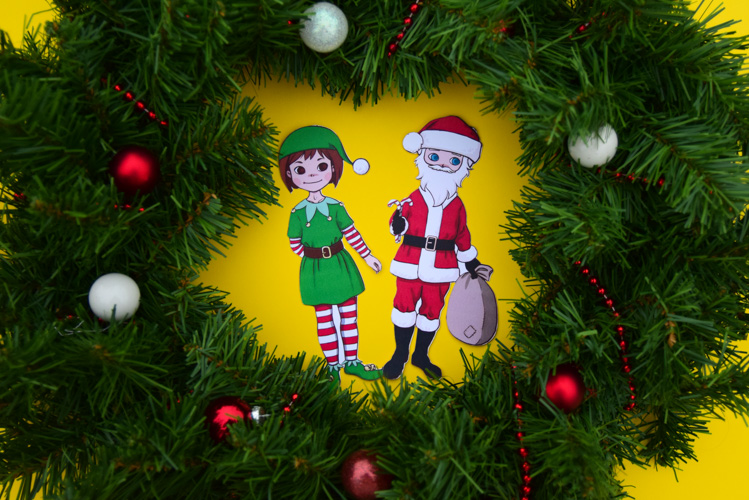Christmas Elf paper doll and Santa paper doll