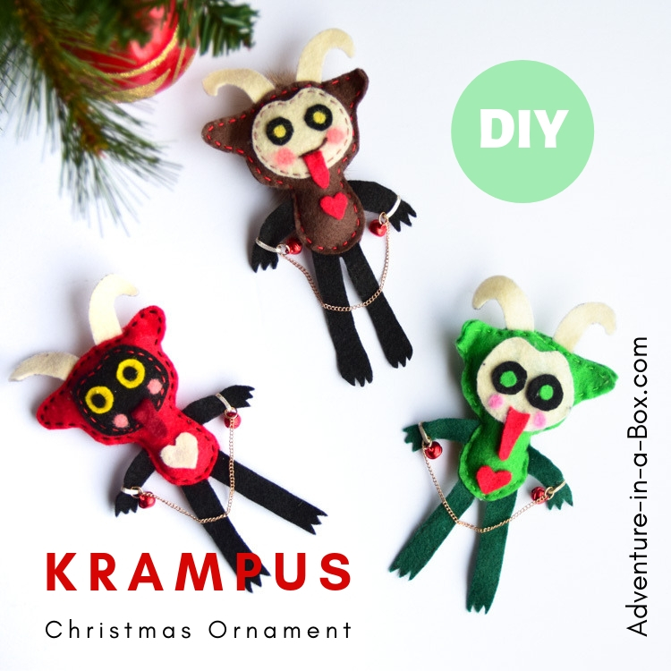 Decorate your Christmas tree with a DIY Krampus ornament! Made from felt, these homemade ornaments are so easy that even kids can put them together. #kidmadeornaments #kidcrafts #Christmascrafts #handmadechristmas #handmade #felt #krampus