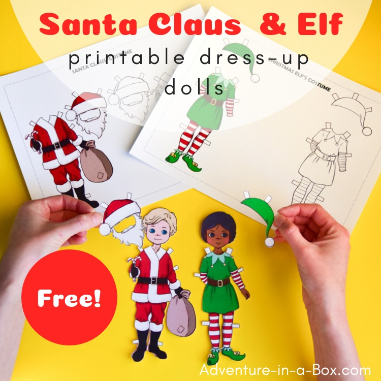 Make a Santa-Claus dress-up doll with this free printable craft, then change his costume and he's a Christmas elf! #christmascraft #homeschool #freeprintable #christmas