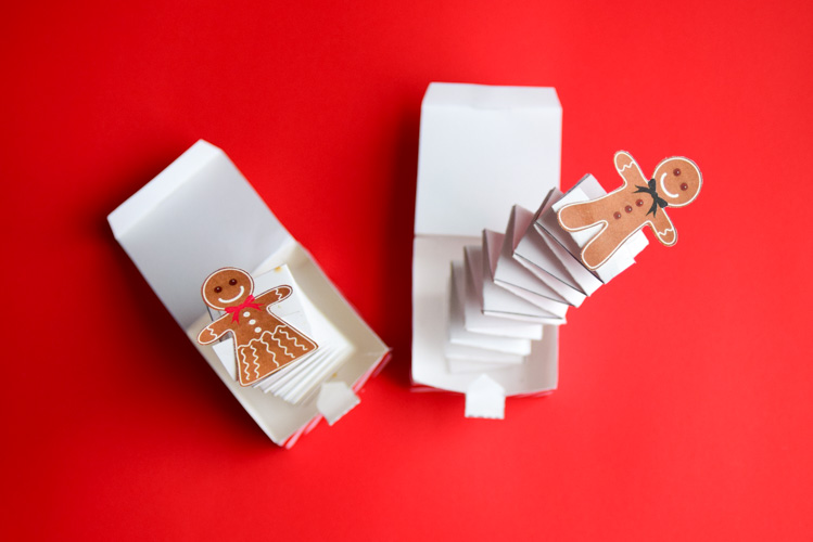 Two gingerbread jack-in-the-boxes
