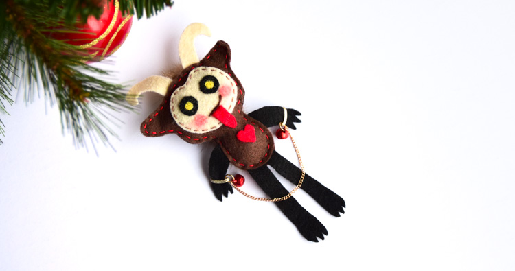 Make a DIY Krampus Christmas Ornament from Felt