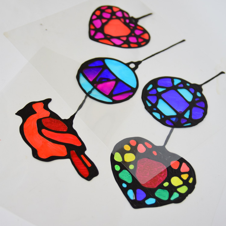 Painting suncatchers with sharpies