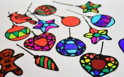 Stained Glass Christmas Suncatchers with Free Printable Templates