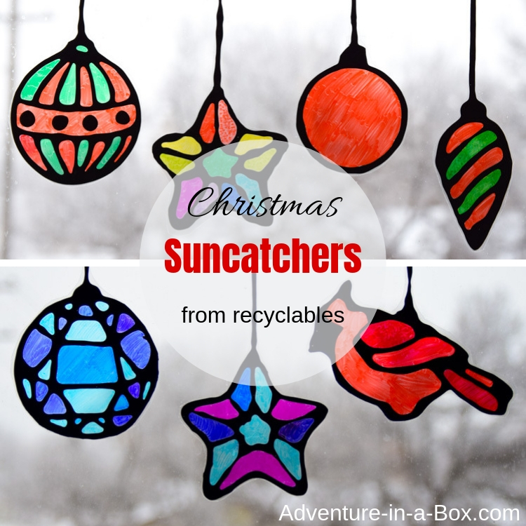 Make stained glass Christmas suncatchers from recyclables with kids!